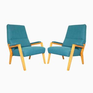 Mid-Century Ash and Fabric Lounge Chairs, Set of 2