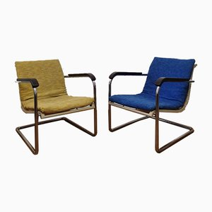 Bauhaus Tubular Steel Model Volkssessel Armchairs by Werner Max Moser for Embru, 1930s, Set of 2
