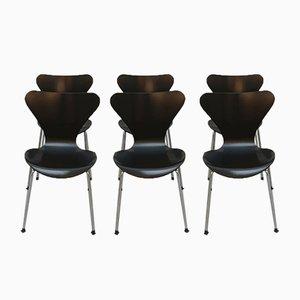 Chaises de Salon Butterfly Modèle 3107 Vintage par Arne Jacobsen pour Fritz Hansen, 1990s, Set de 6