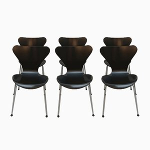 Vintage Model 3107 Butterfly Dining Chairs by Arne Jacobsen for Fritz Hansen, 1990s, Set of 6