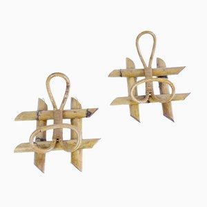 Mid-Century Bamboo Coat Racks, Set of 2