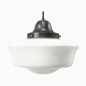Lampe à Suspension Mid-Century en Verre Opalin Blanc et en Métal