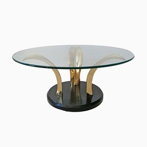 Mid-Century American Black Lacquer, Brass, and Glass Leaves Sculptural Coffee Table, 1970s
