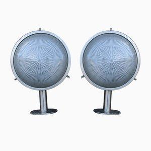 Wandlampen aus Silber & bedrucktem Glas von Sergio Mazza für Artemide, 1960er, 2er Set