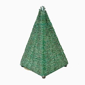 Vintage French Glass Pyramid Table Lamp, 1960s