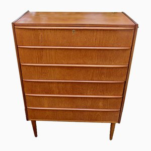 Danish Teak High Chest of Drawers, 1960s