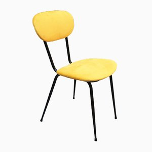 Italian Black Metal and Yellow Velvet Dining Chairs, 1960s, Set of 4