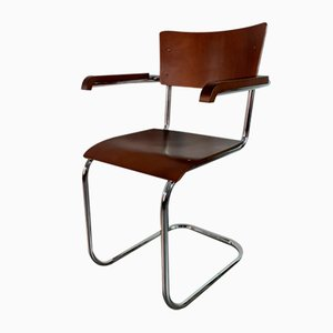 Bauhaus Czechoslovak Walnut Model K10 Dining Chairs from Slezak, 1950s, Set of 4