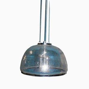 Vintage Chrom und Glaskuppel Hängelampe von Hustadt Leuchten, 1970er