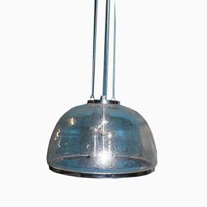 Vintage Chrome and Glass Dome Ceiling Lamp from Hustadt Leuchten, 1970s
