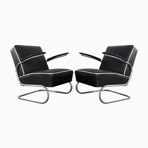 Bauhaus Czechoslovak Leather Model K29 Lounge Chairs by Willem Hendrik Gispen for Slezak, 1950s, Set of 2