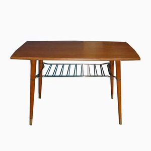 Mid-Century Teak and Brass Coffee Table with Storage, 1960s