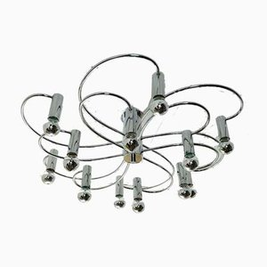 Large Chrome 12-Arm Sputnik Ceiling Lamp from Cosack, 1970s