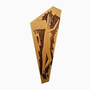 Dekorative Holztafel im Art Brut Stil, 1970er