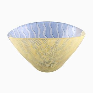 Large Bowl in Yellow and Blue Glass by Monica Backström for Kosta Boda, 1980s