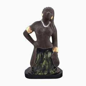 Balinese Girl in Raw and Glazed Ceramic by Bengt Wall, Sweden, 1950s