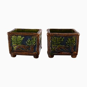 Art Nouveau Bowls in Glazed Ceramic by Karl Holst for Höganäs, Set of 2