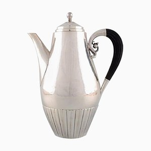 Kosmos Coffee Pot in Sterling Silver by Johan Rohde for Georg Jensen, 1940s