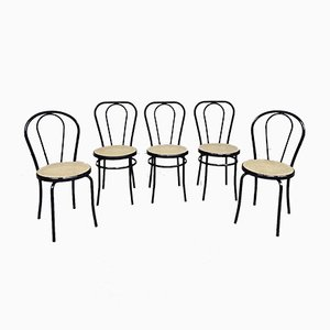 Mid-Century Italian Metal Bistro Dining Chairs, Set of 5