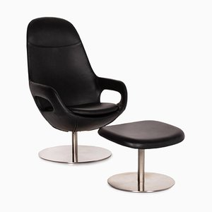 Smartville Black Leather Armchair & Stool from BoConcept, Set of 2