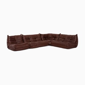 Dark Brown Leather Togo Corner Sofa by Michel Ducaroy for Ligne Roset
