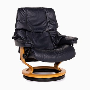 Dark Blue Leather Reno Armchair with Relax Function from Stressless