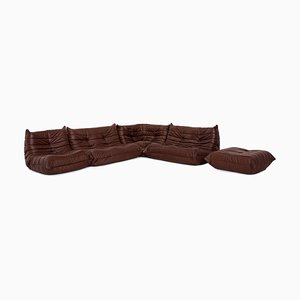 Dark Brown Leather Sofa Set by Michel Ducaroy for Ligne Roset, Set of 2