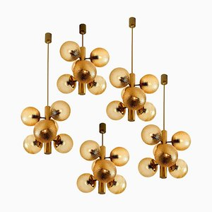 Molecular Chandelier with Amber Glass Globes by VEB, 1960s