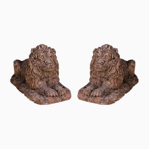 English Recon Stone Lions, 1930s, Set of 2