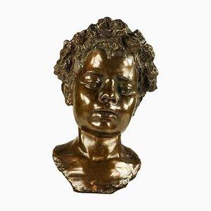 Vintage Bronze Boy Bust from Fonderia Artistica Walter Bagnoli Napoli
