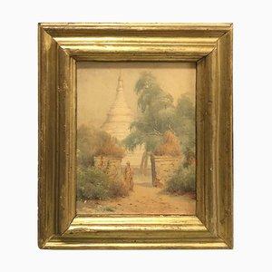 Italian Giltwood Framed Orientalist Landscape Oil Painting, 1870s