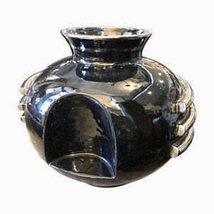 Art Deco Italian Black and Silver Ceramic Vase from Deruta, 1930s