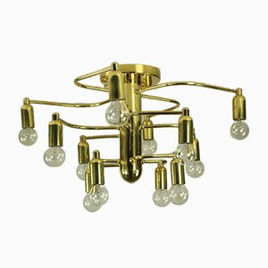Mid-Century Brass Flush Mount Ceiling Lamp from Leola