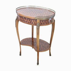Vintage Marquetry Rosewood and Gilded Bronze Coffee Table, 1930s