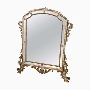 Vintage Lacquered and Gilded Wall Mirror, 1930s