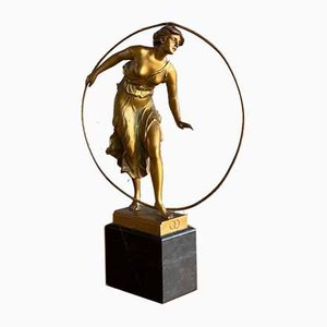 Art Nouveau Gilded Bronze Hoop Dancer Sculpture by Morin for Georges Morin