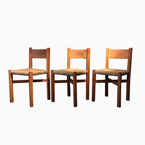 Wooden Dining Chairs by Charlotte Perriand, Set of 3