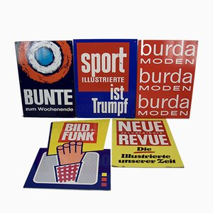 Mid-Century Kiosk Advertising Signs for Magazines, Set of 5