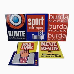 Mid-Century Kiosk Werbeschilder für Zeitschriften, 5er Set