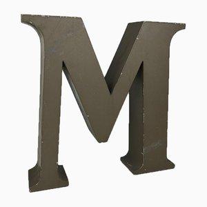 Italian Beige Letter M in Metal, 1970s