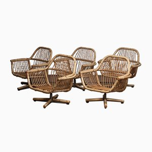 Rattan Garden Swivel Chairs, 1960s, Set of 5