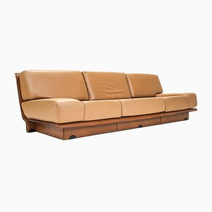 2-Tone Cognac Leather Sofa by Gerard Guermonprez, 1970s