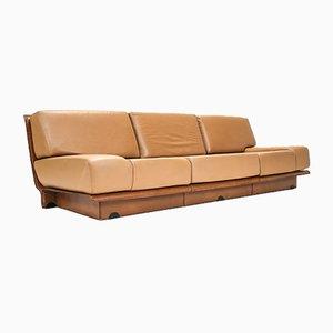 2-Tone Cognac Leather Sofa by Gerard Guermonprez, 1970s