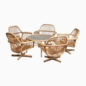 Rattan Garden Swivel Chairs & Rattan Table, 1960s, Set of 6