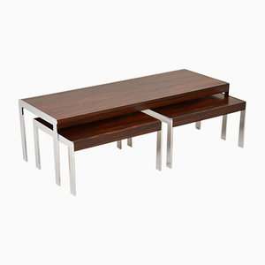 Rosewood & Chrome Nesting Coffee Tables from Merrow Associates, 1960s, Set of 3