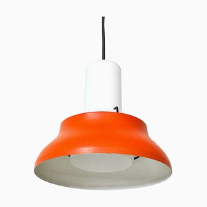 Iron and Opaline Glass Pendant Lamp in the Style of Stilnovo, 1950s