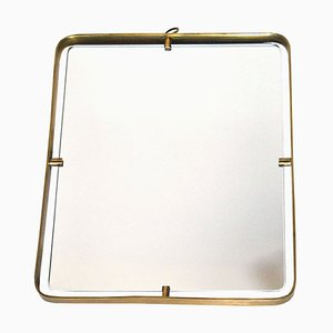 Brass Mirror Attributed to Fontana Arte, 1950s