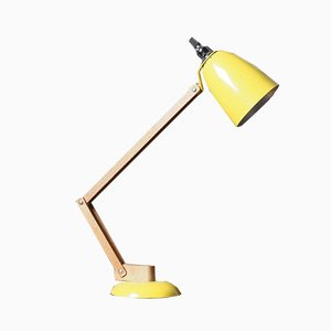 Vintage Yellow Lamp with Wooden Arm from Habitat, 1970s