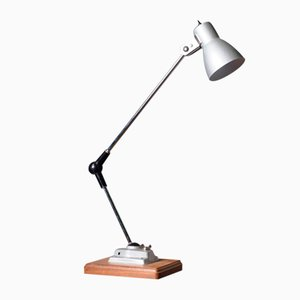 Vintage Industrial Style Silver Metal Anglepoise Lamp on Rectangular Wooden Base, 1970s