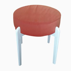 Vintage White Lacquered Beech Stool, 1970s